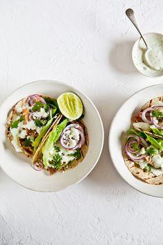 pork belly tacos with cilantro avocado cream.