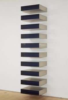 Donald Judd, Untitled, 1973; stainless steel and oil enamel on Plexiglas, 114 in. x 27 in. x 24 in. (289.56 cm x 68.58 cm x 60.96 cm); Collection SFMOMA, Purchase with the aid of funds from the National Endowment for the Arts and Friends of the Museum