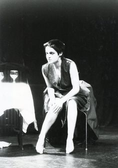 Angelique Rockas playing the brutalized Emma in the London premiere of Griselda Gambaro`s harrowing `The Camp` in a  moment of calm. https://www.flickr.com/photos/internationalist_theatre_rockas/albums/72157628011069680  https://en.wikipedia.org/wiki/Internationalist_Theatre https://flic.kr/p/aF7xi2