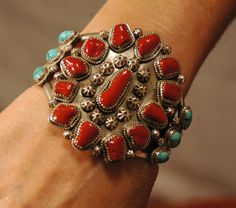 "Tall heavy vintage hallmarked Navajo coral and turquoise sterling cluster bracelet 86 grams 2 1/2"" tall... (by navajodreams)"