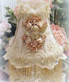 Victorian Lace Lamp Shade Embroidered Style Beaded Fringe Lampshade Vintage Look