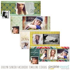 Set of 4 Facebook Timeline Cover Templates for High School Senior Girls | Photoshop Templates for Photographers | High School Seniors