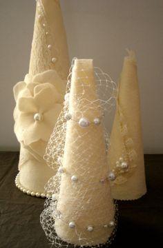 Felt Shabby Chic Christmas Set of 3 Cone Felt Trees by LaParisLaur, $95.00