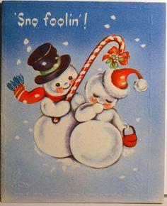 Snowman Snow Woman w Candy Cane Mistletoe
