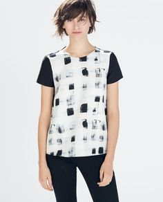 Image 3 of MIXED FABRIC TOP from Zara