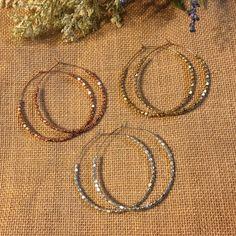 3 pairs Fashionable Hoops 3 pairs of hoops. •Beaded design •Each hoops metal with 1 pair rose gold finish •1 pair gold finish •1 pair silver finish •NWT Jewelry Earrings