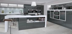 white gloss kitchen with grey wood floor - Google Search