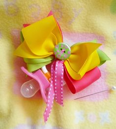 Baby Shower Corsage...... Boutique Hairbow with Pacifier....Girl. $6.25, via Etsy.