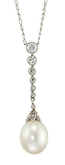 A NATURAL PEARL AND DIAMOND PENDENT NECKLACE   The pear-shaped pearl drop measuring approximately 13.5 by 11.08 mm with a diamond-set cap to the graduated millegrain-set circular-cut diamonds and fine-link chain, 38.5 cm long