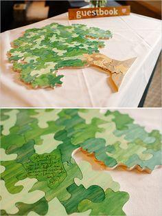 ウェルカムボードアイデア✳︎Puzzle piece tree guestbook idea. Captured By: Michele Hart Photography ---> http://www.weddingchicks.com/2014/05/29/rain-and-shine-rustic-colorado-wedding/