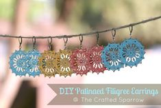 The Crafted Sparrow: DIY Patinaed Filigree Earrings Diy Jewelry Tutorials, Diy Jewelry Making, Jewelry Crafts, Filigree Earrings, Diy Earrings, Crochet Earrings, Beaded Jewelry, Handmade Jewelry, Recycled Jewelry
