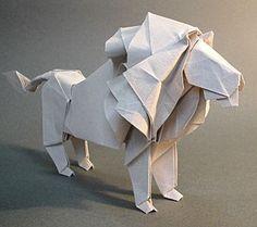 handsome origami lion