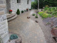 Front entry in Mega Bergerac Pavers installed by Stonebridge Landscapes, Perth ON. Front Entry, Perth, Landscapes, Patio, Outdoor Decor, Garden, Paisajes, Yard, Terrace