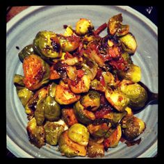 Pan-Fried Brussels Sprouts with Bacon, Garlic and Mustard
