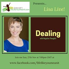 Having trouble becoming or staying positive? Dealing with a lot of negativity? Join my free live stream to learn some helpful tips in dealing with these negative thoughts when they arise. Like my Facebook page to join in for free www.facebook.com/lifelikeyoumeanit
