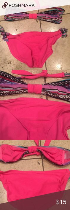 Xhilaration Bandeau Bikini Hot Pink M $39!! Xhilaration Bandeau Bikini Top and Bottoms in Hot pink and printed design - lined - poly/ spandex - great condition- bought brand new for $39! Xhilaration Swim Bikinis