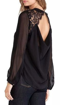 Black Lace Keyhole Blouse - Long Sleeves Black Blouse