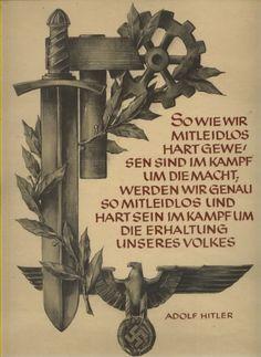 NS Propaganda-Blatt, Adler mit Hakenkreuz, Schwert, Hammer , Zahnrad, Adolf Hitler Spruch, 32 x 23 cm