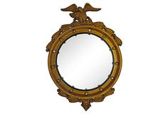 "Vintage (1910-1950 )Wood and Gesso Gold Federal Style Convex Mirror w/ Eagle and an Ornate Border  3""Lx21""Wx28""H  $325  Condition: Chip on right wing and paint loss"