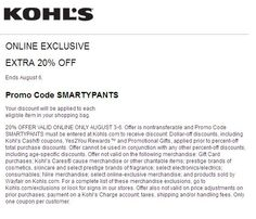 #Kohls Coupons 20% Off Your Entire Purchase ➡ SMARTYPANTS Friends & Family Sale! Take 20% Off Your Purchase. 20% OFFER VALID ONLINE ONLY AUGUST 3-6