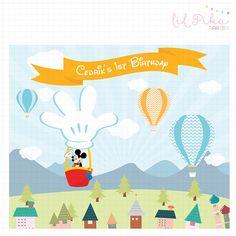 Telón de fondo para imprimir Banner (Mickey Mouse globo aerostático)