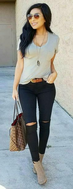 Fantastic Spring Outfits You Should Already Own, Spring Outfits, woman wearing gray cap-sleeved shirt with black pants standing during daytime. Pic by Monica Serrato. Casual Chic Outfits, Casual Chic Style, Fall Outfits, Casual Dresses, Summer Outfits, Cute Outfits, Ripped Jeans Outfit Casual, Spring Outfits Women Casual, Outfits 2016