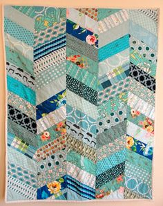 Blue Herringbone Baby Quilt by lovelizziequilts on Etsy, $135.00
