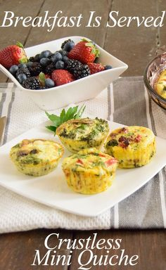 Make these simple crustless quiches for a healthy breakfast all week!  - low fat, high protein and gluten free! This easy recipe is also great for brunch!