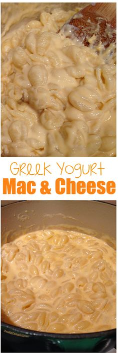 The creamiest healthy mac & cheese recipe, uses Greek yogurt in place of heavy cream: http://chocolatecoveredkatie.com/2015/03/05/greek-yogurt-mac-cheese/