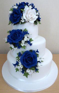 50th Wedding Anniversary Decorations, 50th Anniversary Cakes, Blue Wedding Decorations, Blue Wedding Centerpieces, Extravagant Wedding Cakes, Beautiful Wedding Cakes, Royal Blue Wedding Cakes, Wedding Sheet Cakes, Brides Cake