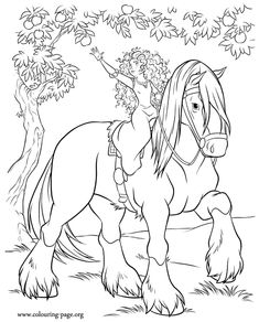 Merida is riding Angus and trying to reach a delightful apple to feed him! Just print this awesome coloring page from the Brave movie and have fun!