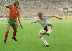 West Germany 0 Portugal 0 in 1984 in Strasbourg. Rudi Voller shoots for goal in Group B at Euro 84.