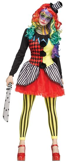 [Halloween Costumes Women] Freak Show Scary Killer Clown Woman Costume, Small/Medium -- Click image for more details. (This is an affiliate link) Clown Costume Women, Scary Clown Makeup, Clown Halloween Costumes, Jester Costume, Halloween Look, Circus Costume, Scary Clowns, Costume Dress, Adult Costumes