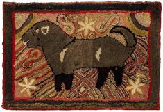 """19th-century folk art figural hooked rug, 33"""" x 48"""", from a collection of hooked rugs."""