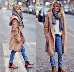 Hooded coat, boyfriend jeans, chelsea boots. That coat is to die for!