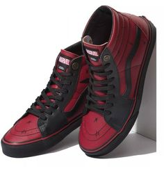 Vans Marvel Limited Edition Hi Red Deadpool FA Supreme Syndicate Sz Red Sneakers, Sneakers Fashion, Fashion Shoes, High Top Sneakers, Mens Fashion, Marvel Shoes, Marvel Clothes, Skate Shoes, Vans Shoes