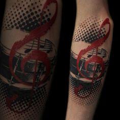 music tattoo #tattoo #tattoos #blackandgrey #desireemancia #ink #tattooartist #color #trashpolka #music #drum #clef