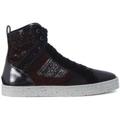 Sneaker Hogan Rebel R141 Patchwork In Pelle E Camoscio Nero Con... ($230) ❤ liked on Polyvore featuring shoes, sneakers, nero, hogan rebel, hogan rebel sneakers, glitter shoes, patchwork shoes and bordeaux shoes