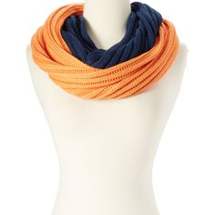 Cheveux Corp. Navy & Orange Knit Infinity Scarf ($12) ❤ liked on Polyvore featuring accessories, scarves, navy infinity scarf, knit loop scarf, knit scarves, orange scarves and knit tube scarf