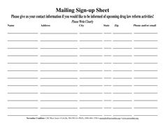 email sign-up sheet template - Google Search | sign-up | Pinterest ...