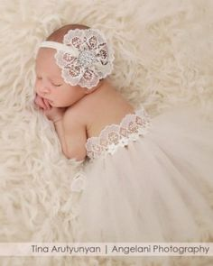 Lace Headband with Matching Tutu (Set) for Babies First Pictures, Photo Prop (Newborn, Ivory)