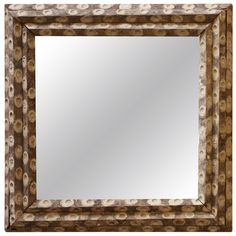 1stdibs   Large Square Oyster Stick Mirror