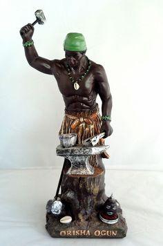 14 Inch Statue Orisha Ogun Yoruba Santeria Guerrero Ogum Lucumi Warrior African