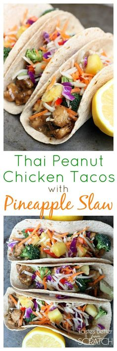 Thai Peanut Chicken Tacos with Pineapple Slaw recipe on TastesBetterFromScratch.com