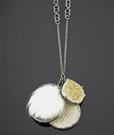 "LAUREN BLAIS-USA Jewelry  NECKLACE rabbit fur, stingray leather, snakeskin, and a quartz drusy.   ""Lauren Blais is a Boston-based metalsmith who combines traditional silversmithing techniques with new and unusual materials to create some striking pieces.""  from .wearableartblog"
