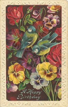 Blue birds and pansies