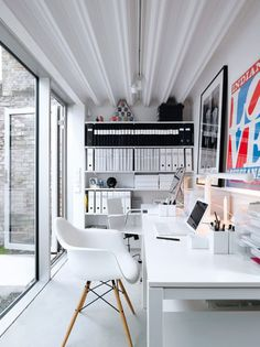 #workspace, #organize, chair, files, bookcase, white and bright