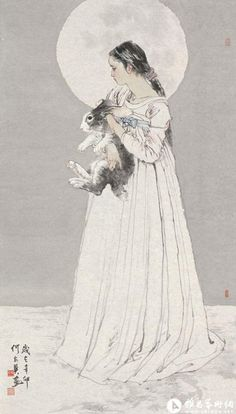 Art by He Jiaying - Rosie Chuong Korean Painting, Chinese Painting, Japanese Drawings, Japanese Art, China Art, Korean Art, Les Oeuvres, Art Reference, Illustration Art
