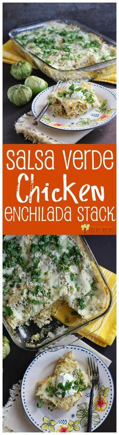 Salsa Verde Chicken Enchilada Stack from EricasRecipes.com