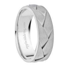 Braided Design with Brush Finish Wedding Band In 14K White Gold